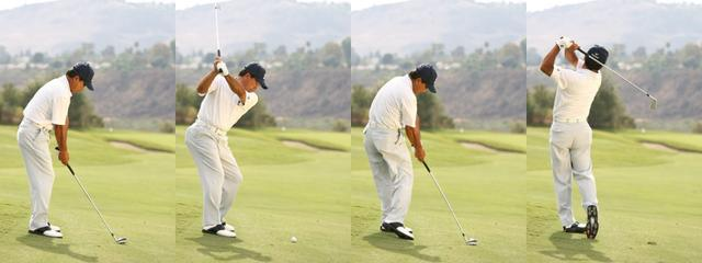 画像: つま先下がりの場合、傾斜が強いほど両ひざを曲げ、重心を落としてスウィングする