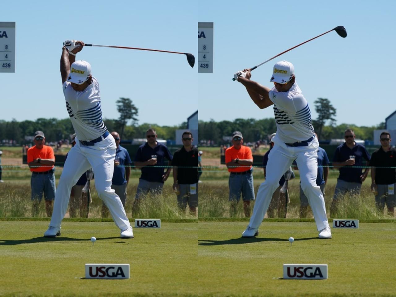 画像: 左足を踏み込むタイミングが地面反力を効率良く使うためのポイントとなる(写真は松山英樹のスウィング)