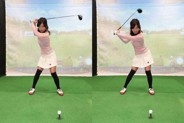 画像: 切り返しの最初に、左に踏み込むと同時に腰を少し左にスライドさせることが大事