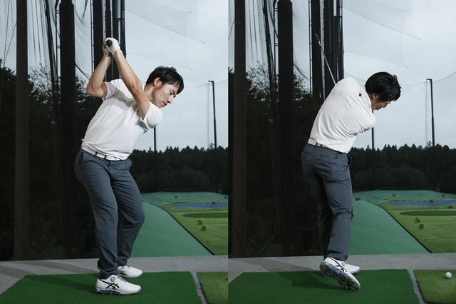 画像: トップでは左わき腹が縮んで右わき腹が伸び、フォローでは右わき腹が縮んで左わき腹が伸びる。これを意識すると前傾姿勢をキープしてスウィングしやすい