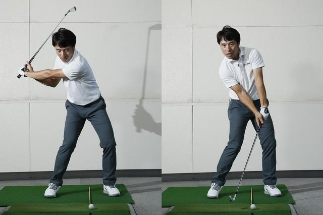 画像: まずは体を回し(写真左)、次いで手首のコックをほどく(写真右)。「体→手」が正しいダウンスウィングの動きの順番
