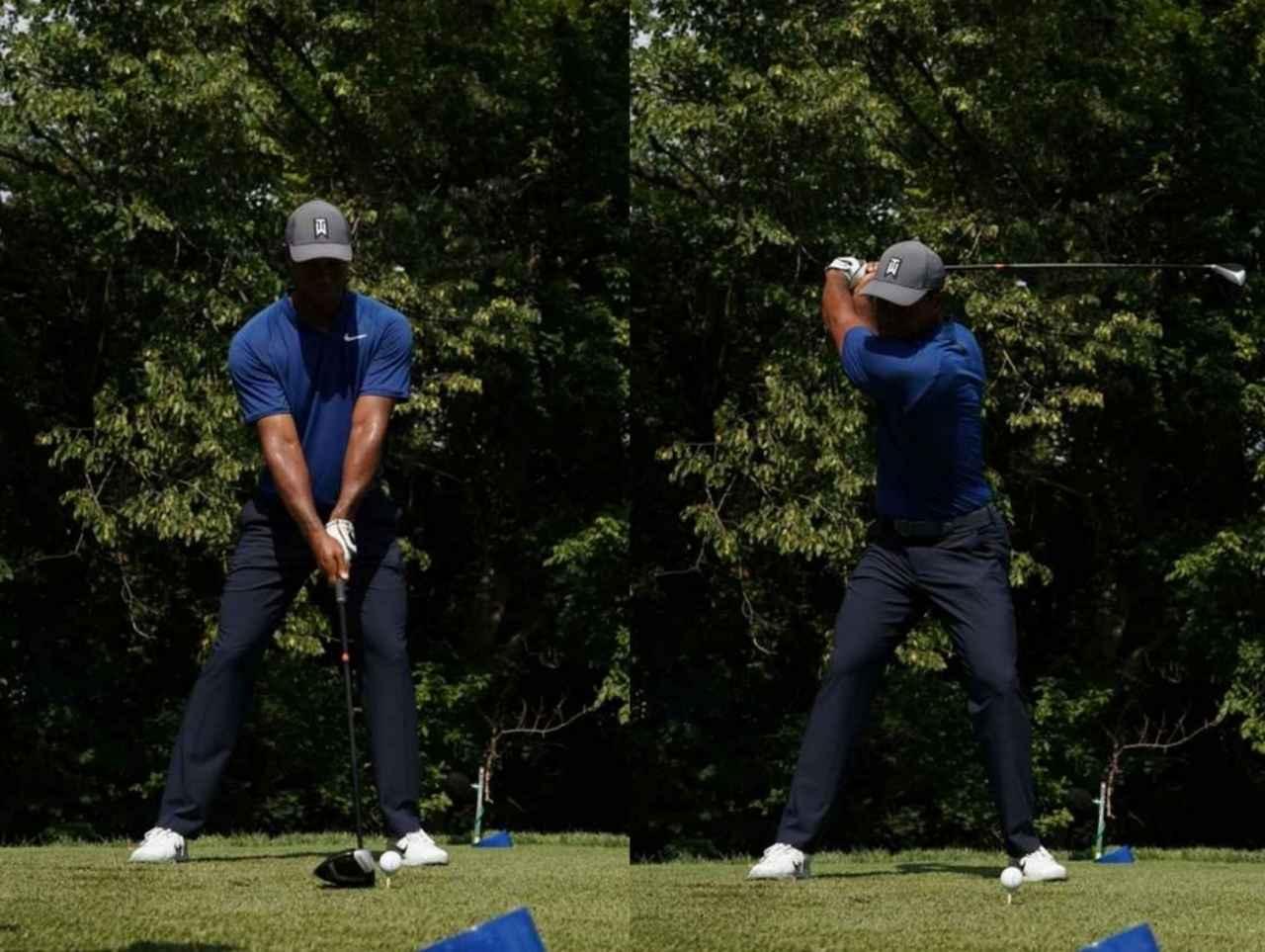 画像: 画像1:アドレスとトップでの左ひざの位置がほとんど変わらない。これにより背中の大きな筋肉を伸ばす(写真は2018年の全米プロゴルフ選手権 撮影/姉崎正)