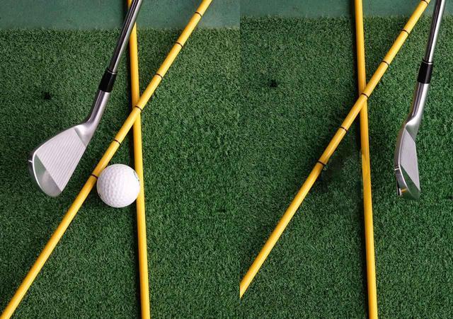 画像: フェースが開いた状態でインパクトに入り(写真左)、ボールが離れる瞬間にフェースがターゲットラインに直角になる(写真右)というのが正しいスクェアインパクトだ