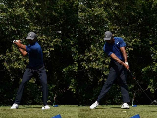画像: 切り返しで曲げられたひざがインパクトでは伸び、ジャンプするような動きも見られるようになった