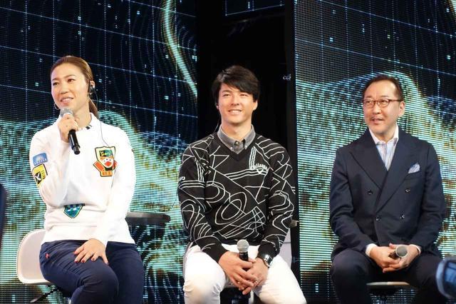 画像: 発表会に登壇した左から上田桃子、石川遼、サイエンスライターの竹内薫
