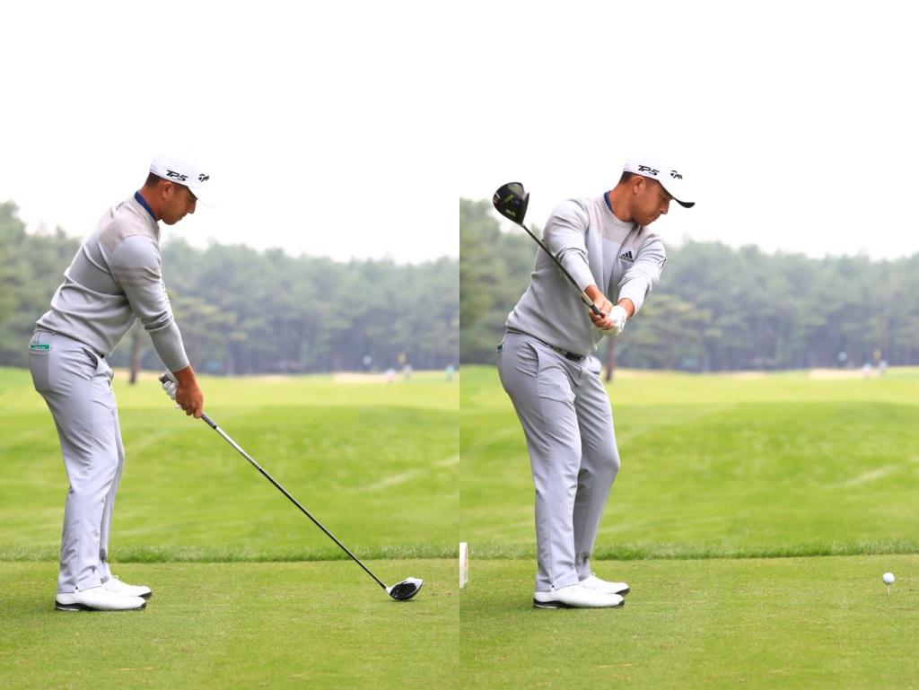 画像: 両腕をしっかり伸ばしたアドレスをとり、両腕を固定したままバックスウィングしているのがよくわかる(写真は2017年のダンロップフェニックス 撮影/大澤進二)
