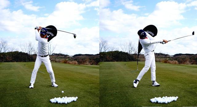 画像: 画像1:右への移動は最小限でほぼセンターで回転を重視。切り返しからは左への踏み込みと左足を伸ばす動きで地面反力を使って回転力を高める