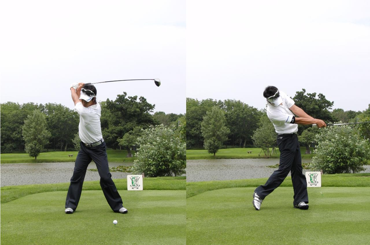 画像: 画像2:広めのスタンスで頭を右に動かし左右へ大きく重心を移動して飛ばしていた(写真は09年サンクロレラクラシック 写真/姉崎正)