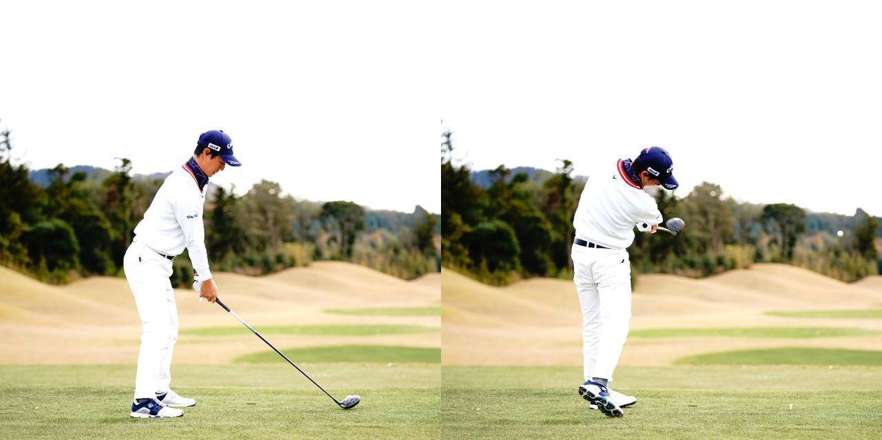 画像: 画像3:アドレスと比べると右の体側が縮無ことで前傾角をキープしたまま振り抜けている