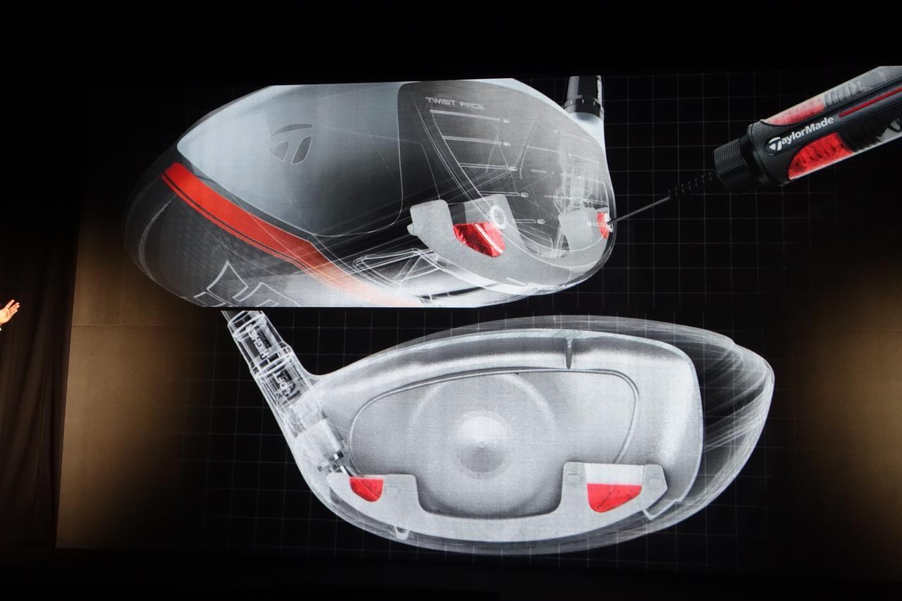 """画像: """"インジェクション(注入)""""のイメージ図。ヘッドひとつひとつのトウ・ヒールそれぞれに最大1グラムのレジンを注入することで反発をルール限界値に収める。注入量はヘッドによって異なる"""