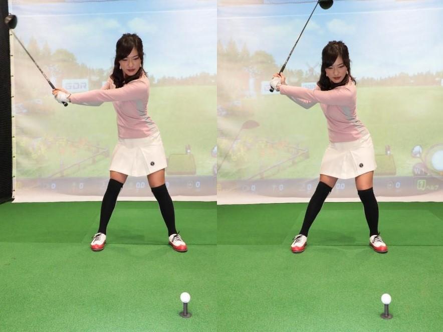 画像: バックスウィングの早い段階で左足を踏み込むことで、反動が使えるうえ、上下のねん転差も生じて、自然と「飛ばせるトップ」になる