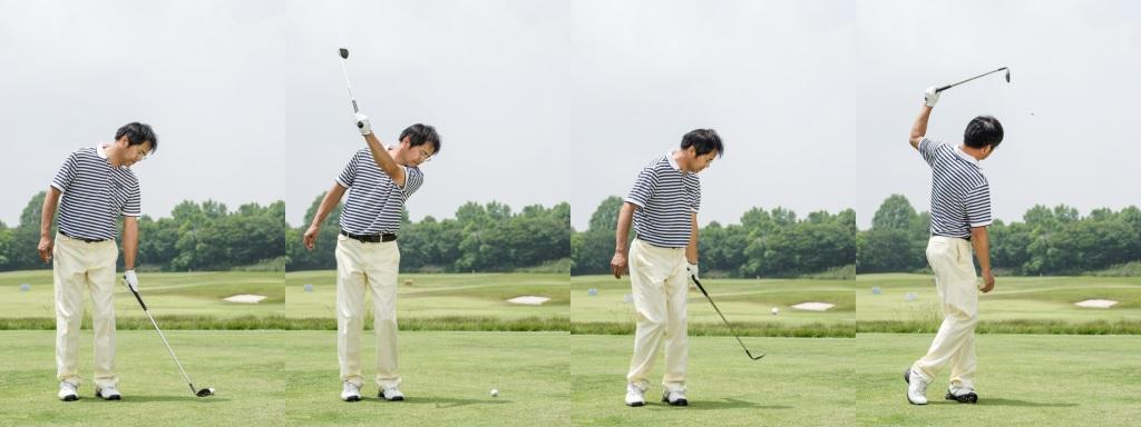 画像: スウィングプレーン確認ドリル。ショートアイアンを左手1本で持ち目標方向に背を向ける。後ろを向いたまま左腕1本でクラブを振りボールを目標方向へ飛ばす。振り上げるのはグリップが肩の高さに上がるまで。左腕の通り道を確認し実際に球を打つときのイメージを作る