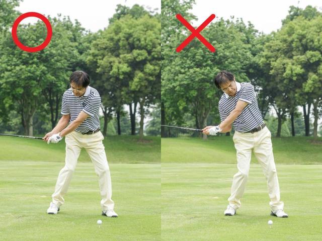 画像: ボールを基準にしたアドレスでは、「振る」ことよりも、ボールを 「打つ」ことに集中してしまいがちになり、 力んでしまったり、重心が左へ突っ込んだり右肩が下がってしまっ たりしてさまざまなミスが出る