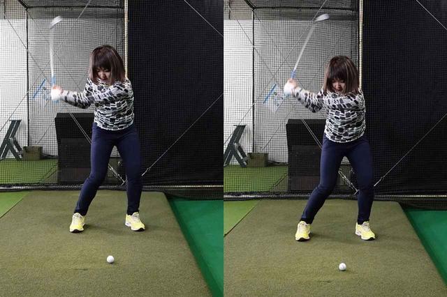 画像: 体の回転だけのスウィング(写真左)よりも地面反力を取り入れたスウィング(写真右)の方が地面を強く踏み込んでいるのがわかる