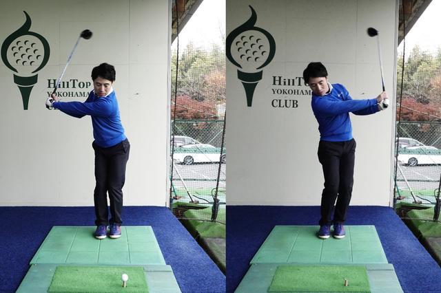 画像: 両足を閉じてスウィングして、体の動きにブレーキをかけてヘッドを走らせる感覚を掴もう