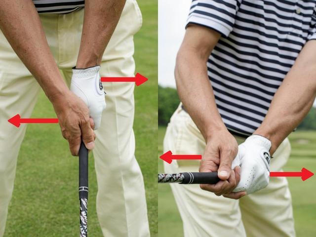 画像: 中心感覚を堅持しながらスウィングするためには、左右の手を引き合うことが重要。アドレスでは両手を飛球線方向と後方に引っ張り合い(左)スウィング中は、右手をヘッド側に、左手をグリップエンド側に引っ張り合う動作で中心感覚を確認する(右)