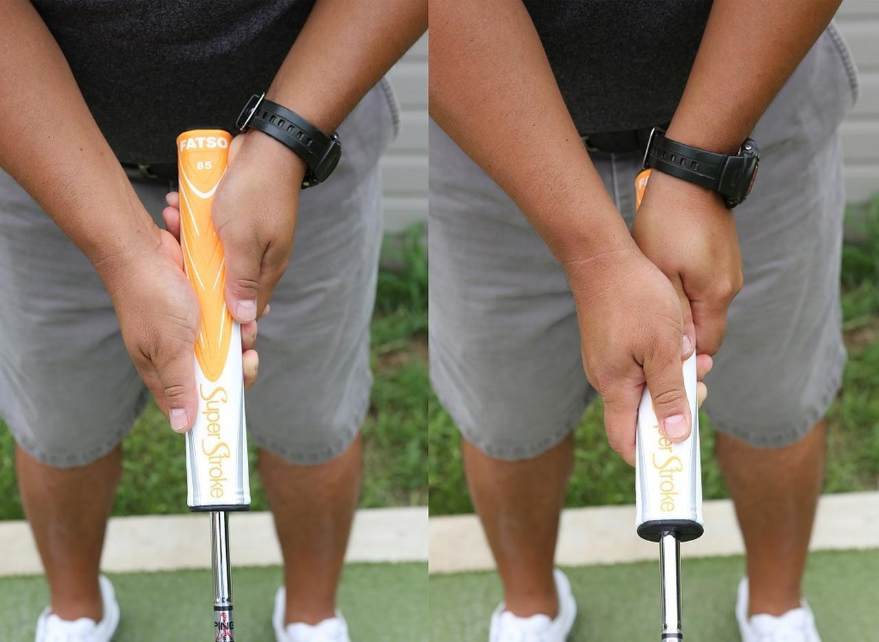 画像: 太グリップを普通に握る(写真右)と、かえってヘッドが動かなくなってしまうタイプの場合、手のひらを上向きにグリップを下目から握ることで腕が動きやすくなる(写真左) レクチャー/中越豪氏