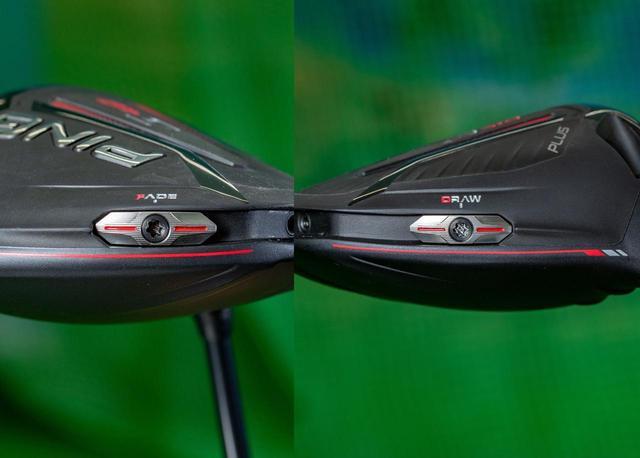 画像: ヘッド後方の16グラムのウェートを、ヘッド後方のスタンダードポジション以外に、トウ寄りのフェードポジション(写真左)、ヒール寄りのドローポジション(写真右)と3つの位置に移動できる