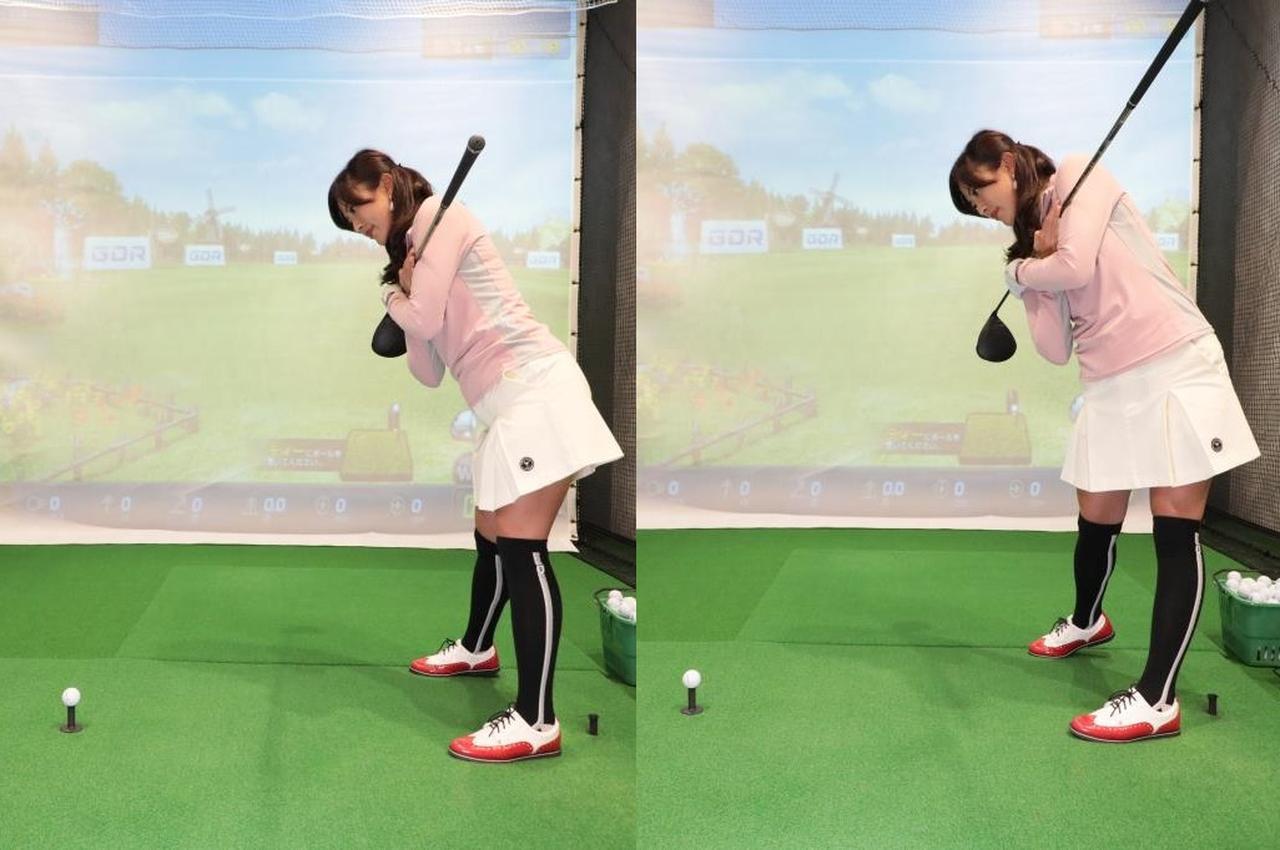 画像: 腰の回転量が少ないタイプの人(左)は、肩も腰もスクェアくらいでインパクト。腰の回転量が多いタイプの人でも(右)腰は大きく回っているが上体はほぼスクェアでインパクトを迎える