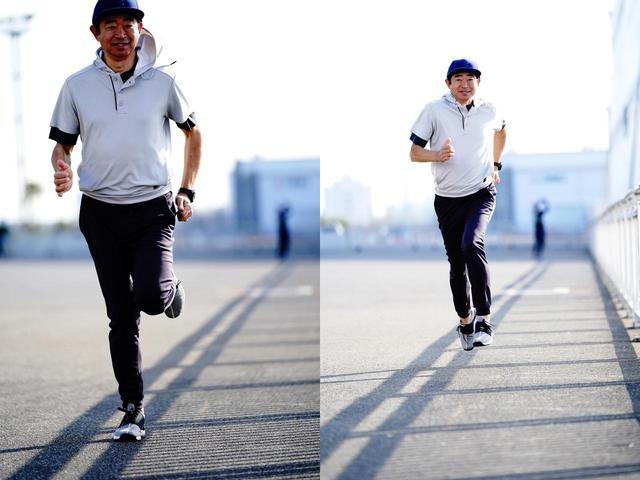画像: 試しに走ってみた中村。「履き心地がいいから、気持ち良く走れました」