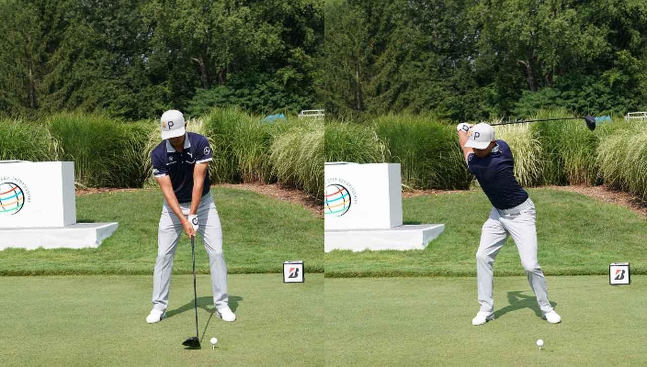 画像: (写真1) 両ひざの間隔をキープしたまま沈み込むようにテークバックする(写真は2018年のWGCブリヂストン招待)