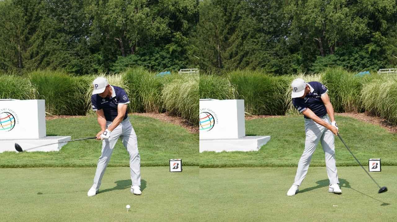 画像: (写真3)インパクトに向けて踏み込んだ左ひざを伸ばすように地面反力を使う