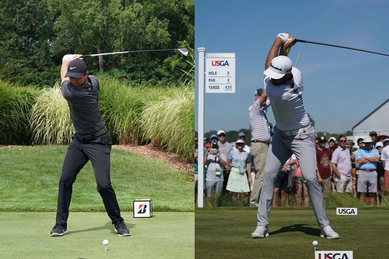 画像: マキロイ(写真左)はトップの手の位置が低く、DJ(写真右)は高い