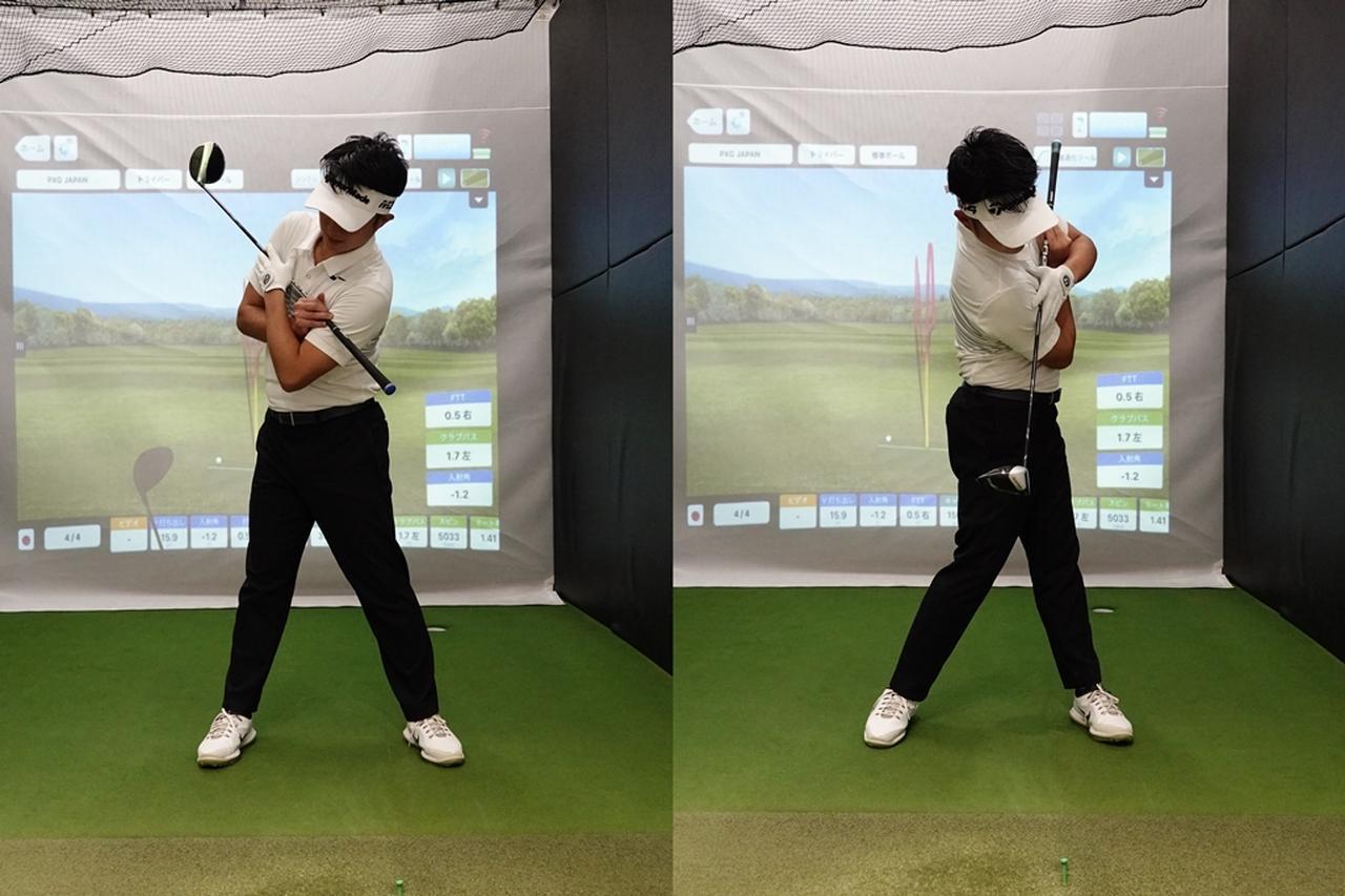 画像: ラウンド前のストレッチで側屈の動きを確認するだけでも効果はあると目澤プロ。バックスウィングで左わき、ダウンで右わきを縮めて、肩をタテに動かしてみよう