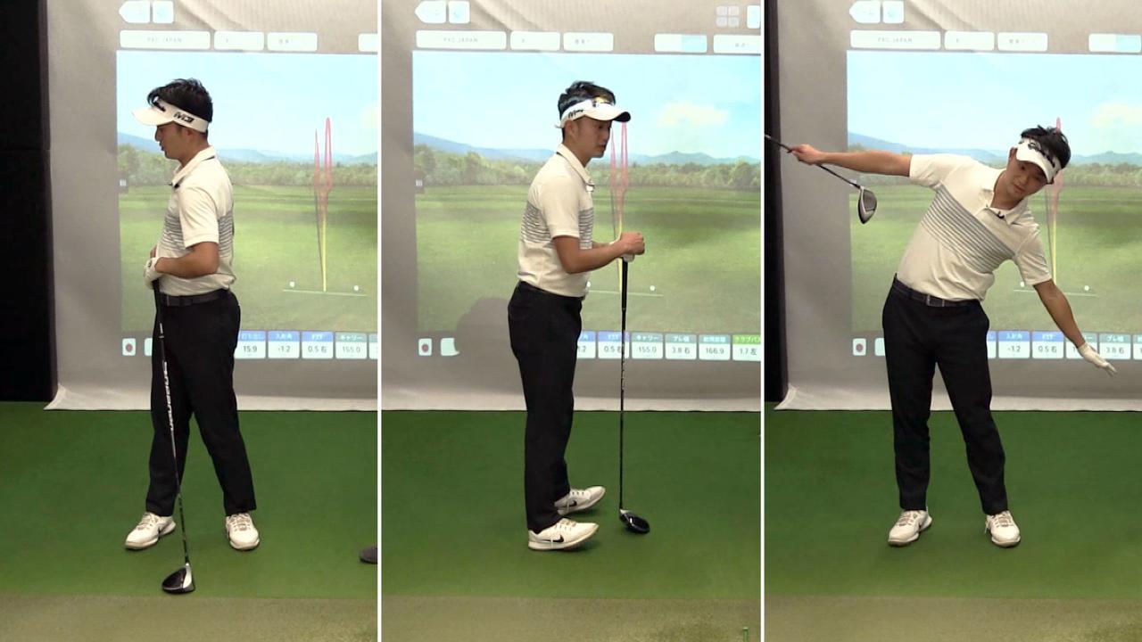 画像: スウィングにおける体の回転をつくる3つの動き。写真左から、横向きの回転(ローテーション)、骨盤の前後への動き(スラスト)、体を横に傾ける動き(サイドベンド)