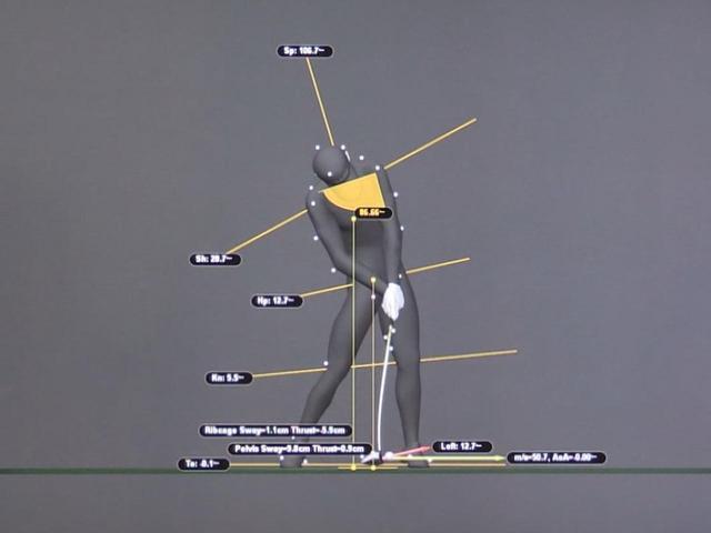 画像: 画像C:肩のラインは、アドレス時よりもさらに傾き、インパクトでは28度に。トップでは右腰が上がっていたが、インパクトでは左腰が高くなっている