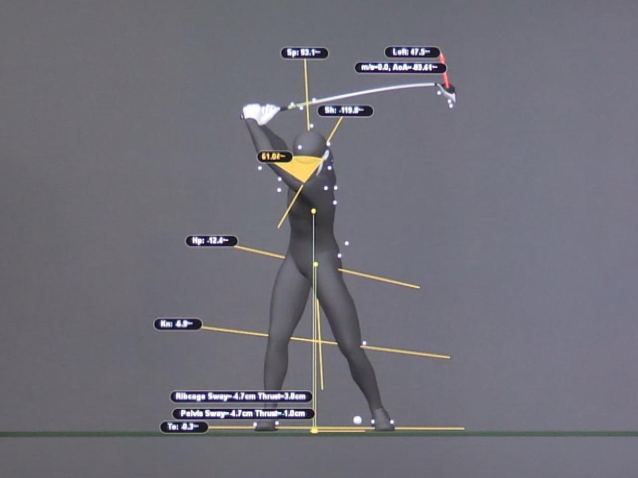 画像: 画像B:左わきを縮めた結果、左肩は下を向き、腰も右側が高く、左側が低くなっている。これが正しいポジションだ