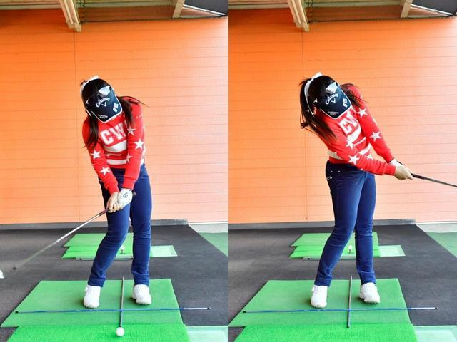 画像: 自分の体の中心を基準に、十の字にシャフトを置く。自分の体の傾きを見極めやすくなり、それを修正することで、クラブの入射角を一定にすることができる