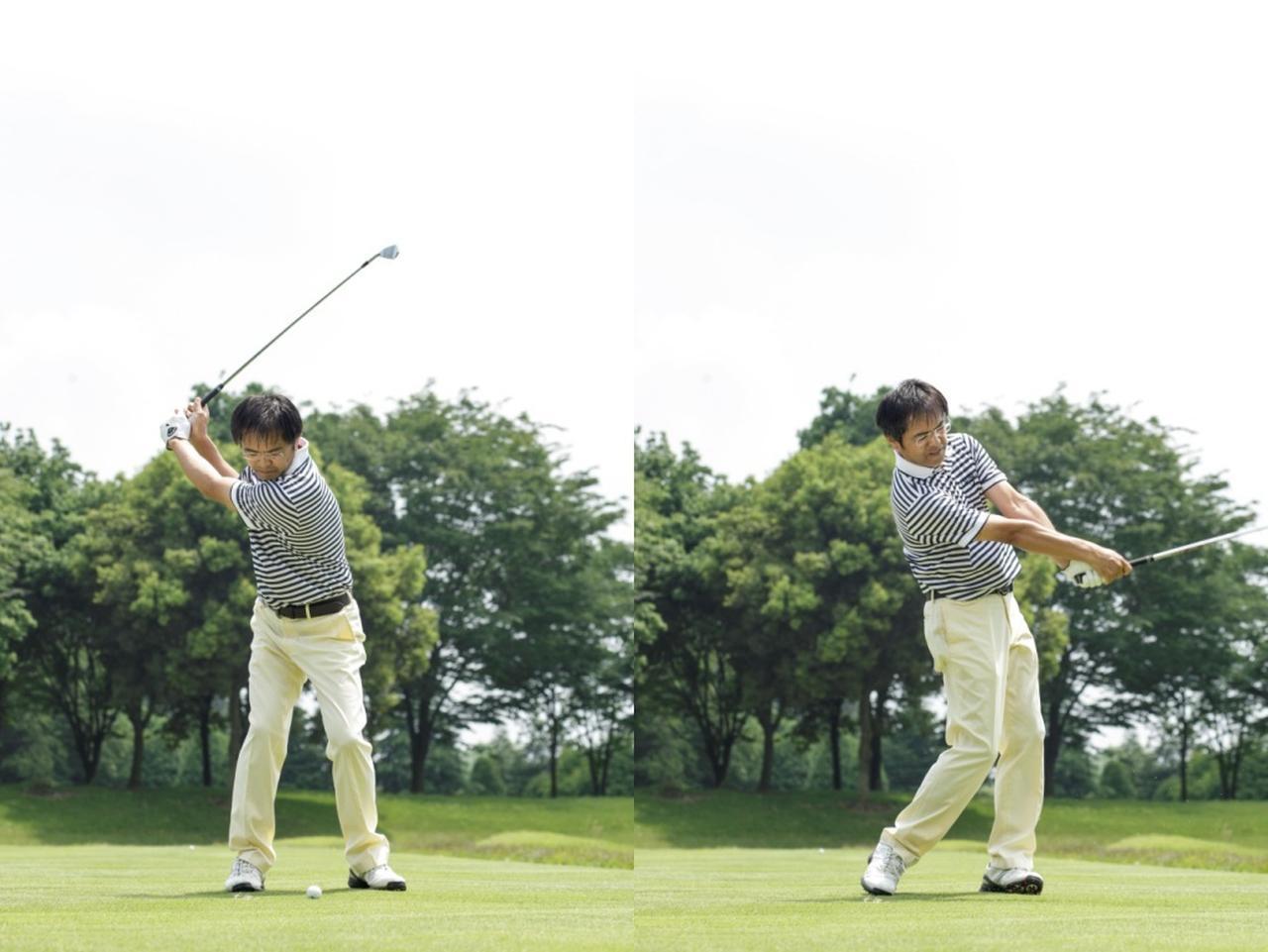 画像: アドレスを省略して、いきなりトップから打ってみる。 この際、トップでは静止をせずに動いたままのような感覚で、全身で球を打ちにいくことがポイント。 体の部位に順番をつけて4拍子で打つイメージが消え、力まず体の入れ替えだけでシンプルに打てるようになる