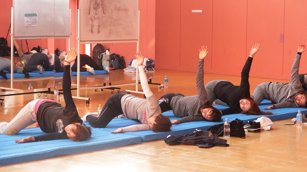 画像: バックスウィングを意識したトレーニング。同時に股関節も強化している