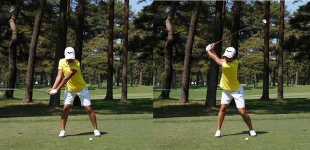 画像: 画像2 右ひじをできるだけ曲げずにバックスウィングをすることで体から手元が遠くなりコンパクトでもエネルギーを蓄えたトップになる(写真は2018年ワールドレディスチャンピオンシップ サロンパスカップ 写真/姉崎正)