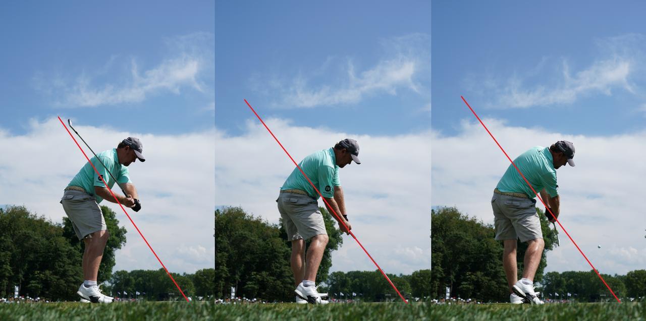 画像: 画像A インパクト(写真中)時のシャフトの線よりもダウン(左)では上からクラブが下りてきて、フォロー(写真右)では下にクラブが抜けていく。アウトサイドイン軌道で振っている証拠だ(写真は2018年の全米プロ 撮影/姉崎正)