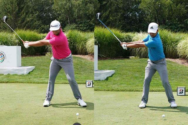画像: 画像A ワイドなバックスウィングをするJ・ラーム(左)とZ・シャウフェレ(右)(写真は2018年WGCブリヂストン招待 写真/姉崎正)