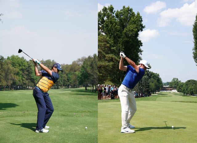 画像: 画像D ガルシア、マキロイのフラットなトップ。クラブの入射角は浅くなりやすい(写真は2018年WGCメキシコ選手権(左)と2018年WGCブリヂストン招待(右) 写真/姉崎正)