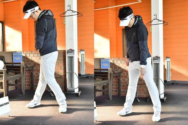 """画像: 写真左のように上半身と下半身が同時に回るのは""""捻転""""ではなく""""回転""""であり、様々なミスの原因。体を""""分離""""するためには、写真右のように下半身が動かないことが理想だと目澤コーチは言う"""