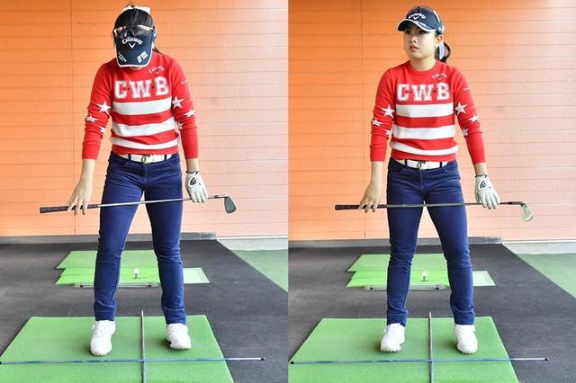 画像: 足踏みするように構えて打つと下半身がバランスよく使えると河本