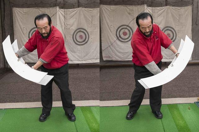 画像: 大きな物体の振り子運動をイメージするとゆったりとしたリズムになり、左右に足踏みするように、リズミカルに体が動くようになる