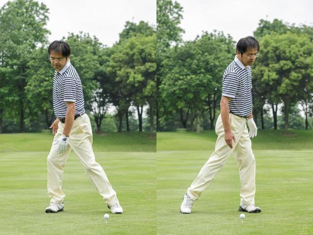 """画像: バックスウィングで、前方から歩いている人にぶつからないように、左肩をかわして右を向き、ダウンスウィングで左右の肩を入れ替える""""ドアスウィング""""が理想。ねじったり、ひねったりしない、無理のないスウィングでも遠くに飛ばせるのだ"""