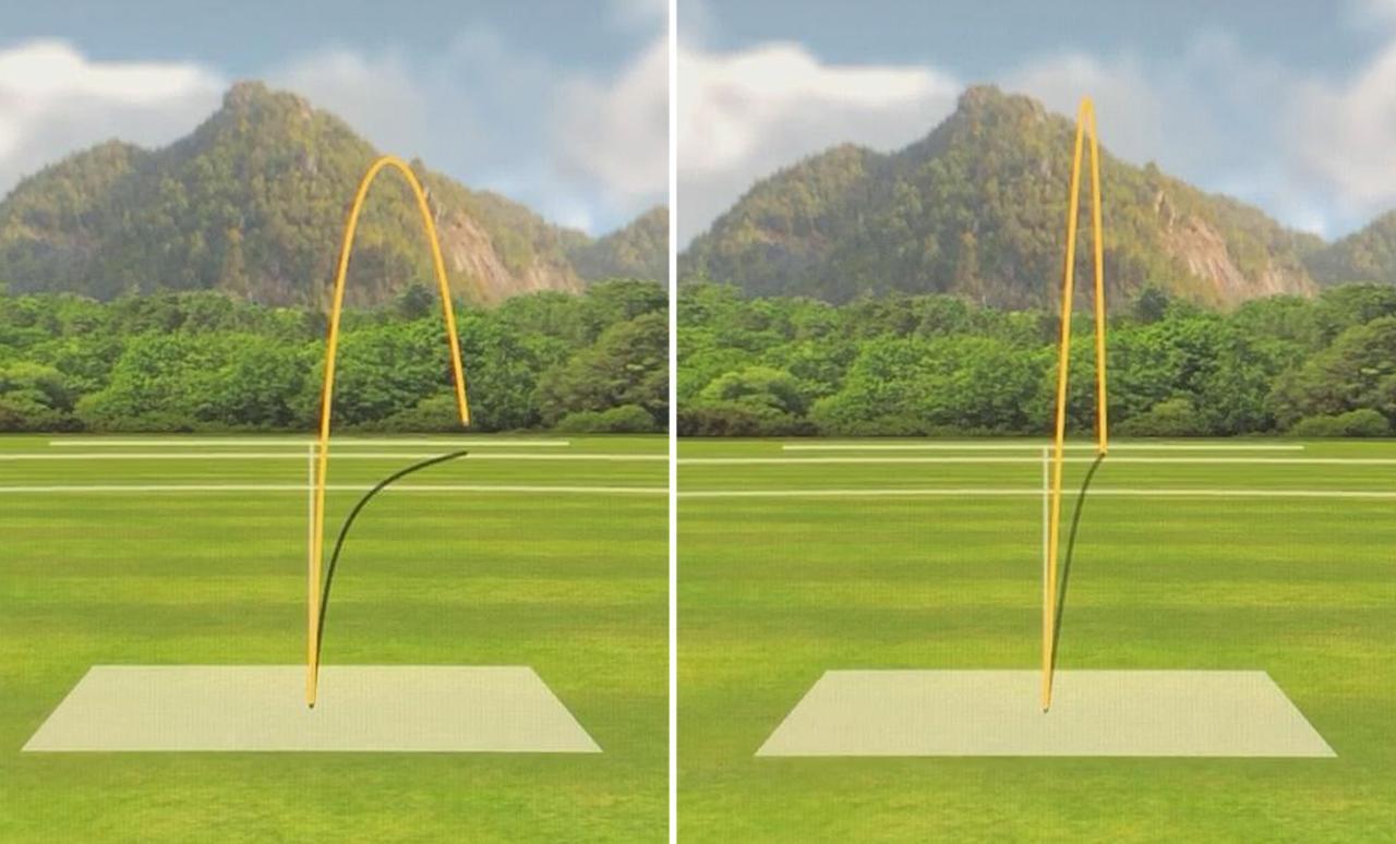 画像: (写真A)左がニュートラルポジション、写真右がドローポジションでの試打結果。可変ウェート位置を変えたことで曲がり幅が抑えられていることがわかる