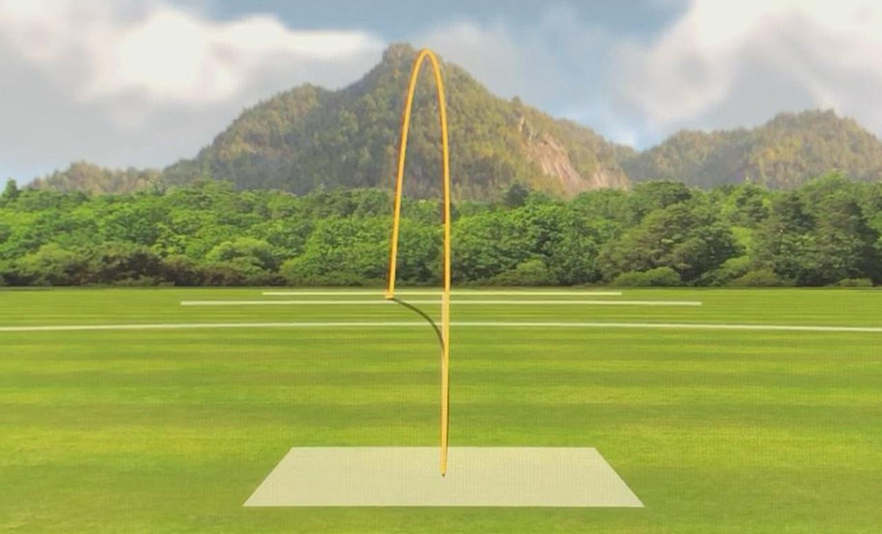 画像: (写真B)堀口のSFTの弾道。しっかりボールがつかまり、ドロー軌道に