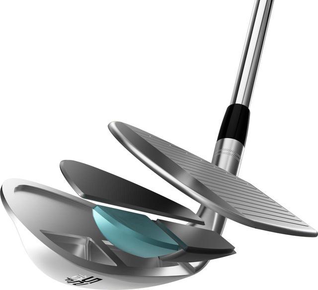 画像: 軟鉄ボディの内部に重たいタングステン(青部)、軽いチタン(黒部)を正確に配置し、一体鍛造する独自の技術Co-Forging。