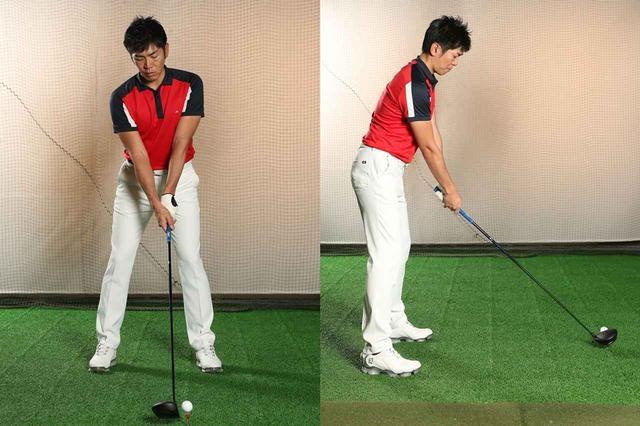 画像: 「地面反力」をスウィングに生かすためには、股関節が使えるように構える必要がある。膝を曲げただけの構えや、背中だけ丸めた構えでは、股関節はうまく使えない