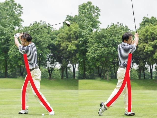 画像: 立った状態から右に一歩踏み出したのがトップ。その反対がフィニッシュ。横から見ると、トップでは「入」、フォローでは「人」のようなカタチになる