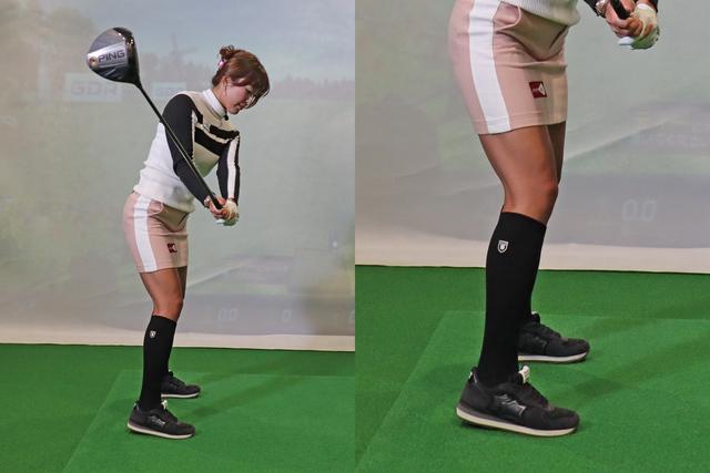 画像: アドレスで右足のかかとを3~5㌢くらい浮かせ、そのままバックスウィングをするだけの「かかと上げドリル」。効率の良いスウィングの習得が期待できる