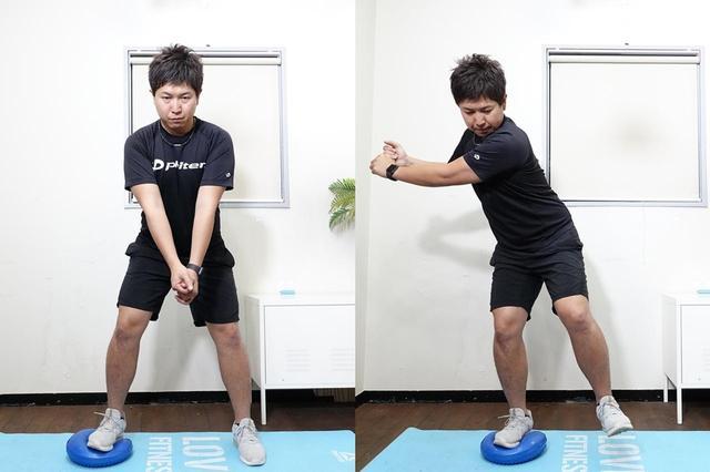 画像: バックスウィングを模したバランストレーニング。腰回りのインナーマッスルに効果がある