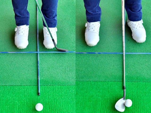 画像: 正面を向いたアドレス(左)と自分が左に回った状態のアドレス(右)はボールの位置が変わったようにみえる